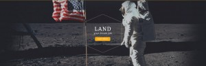 "text ""LAND your dream job"" with astronaut image in the background"