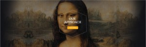 """OUR APPROACH"" with Mona Lisa in the background"