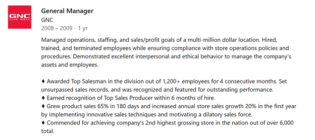 LinkedIn Employment Section Example